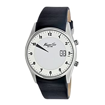 2d27fb1db31 Kenneth Cole New York Mens Digital Stainless Steel Black Leather Strap  Watch KC1724