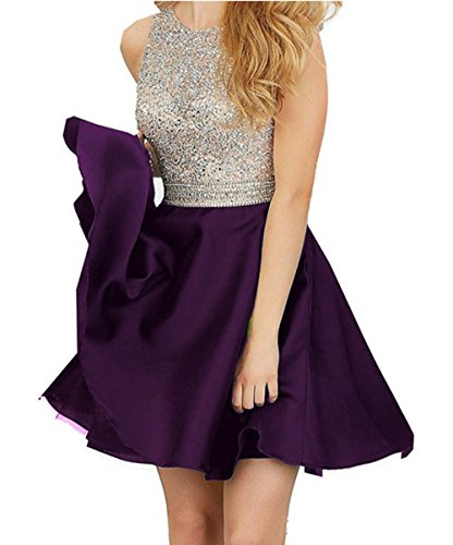 Lisa 2016 Short Beading Open Back Satin Homecoming Dress Prom Gowns LS012