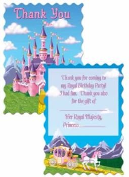 Princess Castle Party Thank You Cards 8 Per Pack