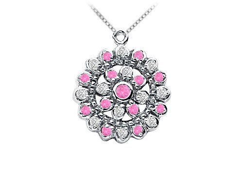 Pink Sapphire and Diamond Flower Pendant on  14K White Gold