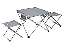 Urltra Light Aluminum alloy Lightweight Folding Table and Stools Outdoor Super Portable BBQ and Camping furniture - set of 3 piece