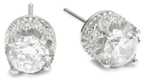 "Platinum Plated Sterling Silver ""100 Facets Collection"" Round Cubic Zirconia Stud Earrings"