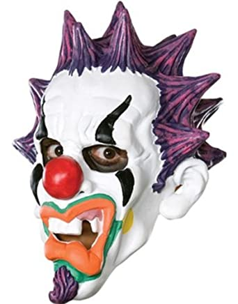 Scary Punk Clown Creepy Vinyl Halloween Costume Mask Adult