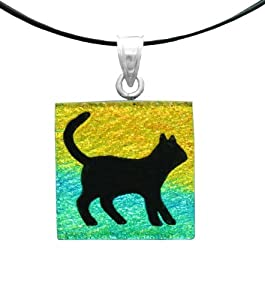 """Sterling Silver Dichroic Glass Multi-Color Cat Pattern Square-Shaped Pendant Necklace on Stainless Steel Wire, 18"""""""