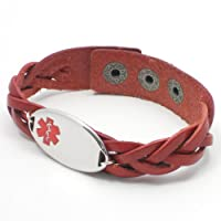 Chic Alert Medical Id Red Braided Leather Medical Alert Bracelet from Chic Alert Medical ID