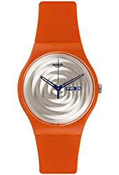 Swatch SUOO702 Multi Bross Silver Day Date Dial Orange Silicone Unisex Watch NEW