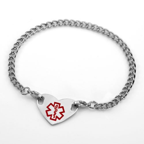 Lg Medical Symbol Stainless Steel Anklet & Heart Tag 10 Inch
