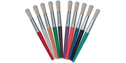 Charles Leonard Inc., Brushes- Stubby Round, Assorted Colors (Red/Blue/Green/Orange/Yellow/Turquoise/Black/Purple/White/Brown), 10/Set (73210) front-444388