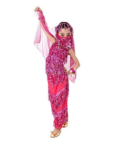 [Befamous Kid's Belly Dance Harem Pants, Halloween Costume Set Indian Dance Dress Set (Pink 2 PCS)] (Childrens Salsa Costumes)