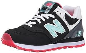New Balance Women's WL574 Glacial Pack Running Shoe, Black/Grey, 9.5 B US