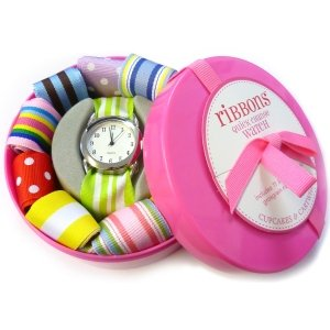 Ribbon Watch  Interchangeable Straps (Pink)