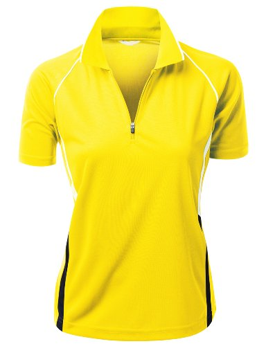Women 2 Tone Coolmax Collar Short sleeve Active Polo TShirt YELLOW M