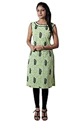 Kittus Fashion House Women's Cotton Straight Kurti (Kskrt-1105_Green_Large)
