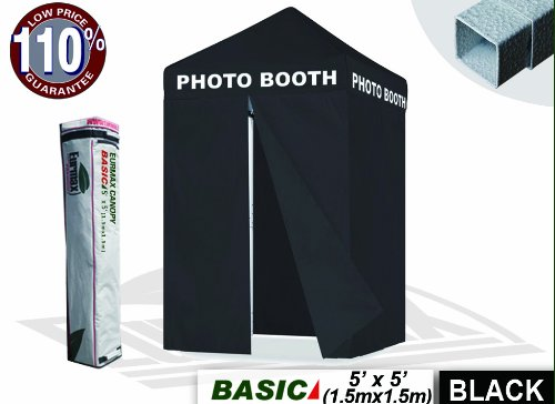 Eurmax 5X5 Ez Pop Up Canopy Photo Booth Printed On 4 Valances Tent Gazebo W/ Carry Bag (5X5, Arial Black Font) front-1075289