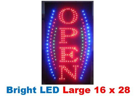 Vertical Open Large Animated Bright Led Neon Business Motion Light Sign. On/Off With Chain 16*28*1 Blt8045L