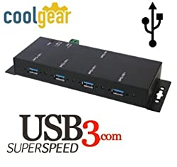 USB 3.0 4-Port Industrial Hub Metal Case with Screw Lock Cable Option