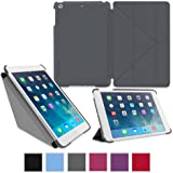 roocase iPad Mini Case - Slim Shell Origami Folio Case Smart Cover for Apple iPad Mini 3 (2014) Mini 2 Retina Display (2013) Mini 1 (2012 Edition), GRAY - Auto Sleep/Wake Feature