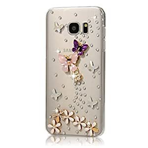 Galaxy S7 Edge Case - Mavis's Diary 3D Handmade Bling Crystal with Shiny Sparkle Diamonds Design Clear Hard PC Cover for Samsung Galaxy S7 Edge (2016) by Mavis's Diary