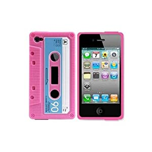 InSassy Pink/Blue Cassette Tape Case / Skin / Cover for Apple iPhone 4 /4G (AT and T and Verizon)