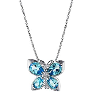 sterling silver blue topaz butterfly pendant