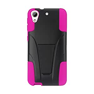 Reiko Silicone with Cell Phone Case for HTC Desire 626/626s - Retail Packaging - Hot Pink/Black