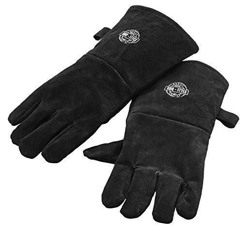 GEFU BBQ Premium Barbecue Leather and Suede Gloves, Cotton Lined Interior, Black