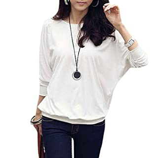 Allegra K Women Mesh Patchwork Dolman Sleeve Stretchy Solid Color Fall Blouse White XL