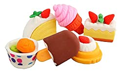 COI 3D Pastry ,Icecream , Pudding Erasers Set Of Six For Kids