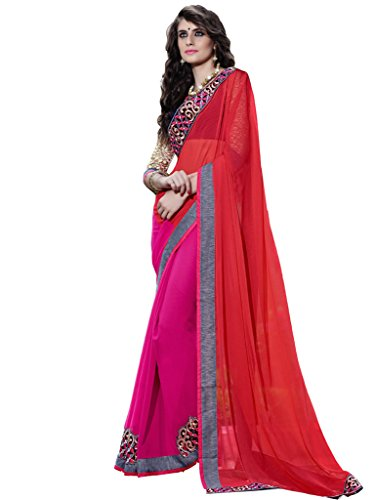 Lovely Look Latest collection of Sarees in Chiffon Fabric & in attractive Red & Pink Color