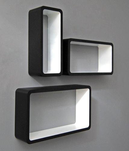 Set di 3 mensole da parete rettangolari stile retró, design anni '70, in colore bianco e nero