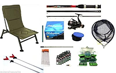 Coarse / Float Fishing Kit Shakespeare Rod + Reel Chair Net Hooks All Tackle from shakespeare kit
