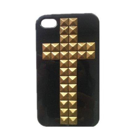 WAWO stile punk pelle protettiva del telefono mobile per iPhone 5 Case nero con borchie Croce di Bronzo e dei punti