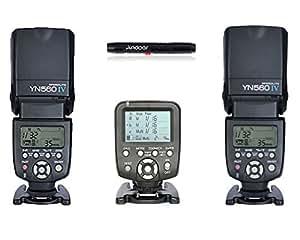 YONGNUO YN560 Ⅳ 2.4GHZ Flash Speedlite Wireless Transceiver Integrated x 2 + Yongnuo YN560-TX Wireless Flash Controller and Commander for YN-560III YN-560TX YN560TX Speedlite Nikon DSLR Cameras