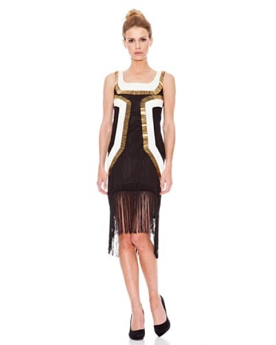 Rare London Vestido Metallic Panel Dress With Fringe