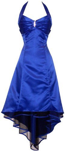 Satin Halter Dress Tulle Mini Train Prom Bridesmaid Holiday Formal Gown Junior Plus Size, XL, Royal Blue