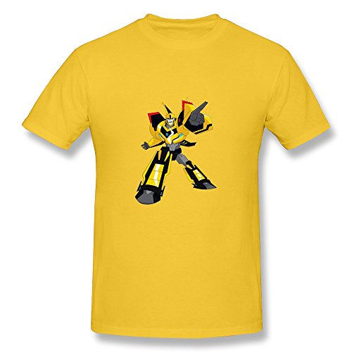 CaiTian Men's Film Transformers Cartoon Bumble Bee T-Shirt - Nerdy T-shirt Yellow US Size XS