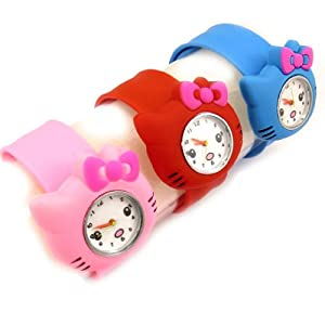 3 slap watches 'Hello Kitty'blue red pink.