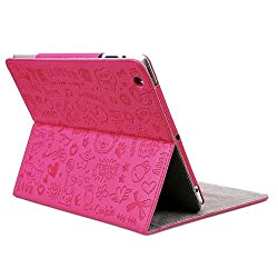 Triline Rose Pink Cute Lovely Girl Stand PU Leather Case Cover For iPad Mini
