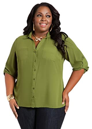 Ashley Stewart Women's Plus Size 2-Pocket Utility Blouse Rubber 16