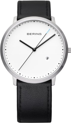Bering Time Men's Quartz Watch with Black Dial Analogue Display and Black Leather Strap 11139-AZ2