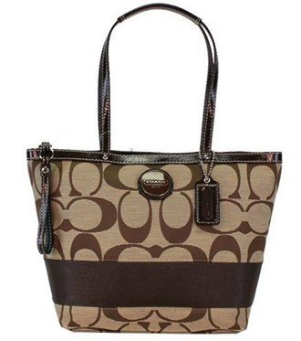 Coach Signature Stripe Shopper Bag Tote Khaki Mahogany - Coach 17433KHA