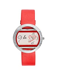 Jiffy Elegant White Dial With Red Touch Red Leather Strap Analog Casual Watch-For Women,Girls