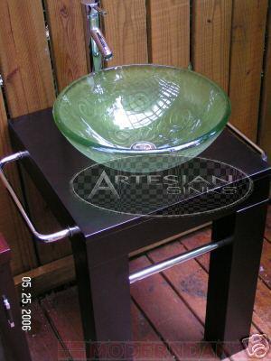 Buy Espresso Wenge Green Glass Vessel Sink pedestal Vanity (Suneli Sinks, Plumbing, Sinks, Bathroom, Consoles)