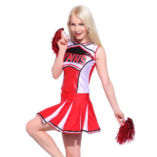 Sexy Cheerleader Uniform Trikot Kleider Cheerleading Cheer Leader Kostüm Schulgirl/Schulmädchen GOGO Fasching Karneval Top Rock mit Pompins
