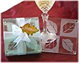 Coasters Fall in Love Frosted Leaf Design Glass Set (24 sets of 4 per order) Wedding Favors