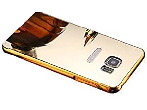 Carla Branded Luxury Metal Bumper + Acrylic Mirror Back Cover Case For SamsungNote5 Gold + Mini Aux wired Selfie Stick.