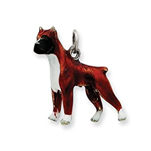 Sterling Silver Enameled Boxer Dog Charm