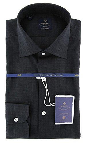 new-luigi-borrelli-charcoal-gray-plaid-extra-slim-shirt