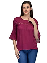 dark pink lace insert bell sleeves top