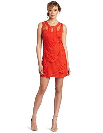 Candela Women's Elle Drop Waist Mini Dress, Tangerine, Small